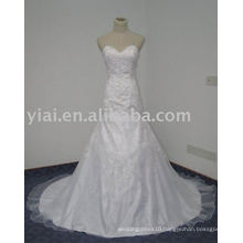 WD7601 Sweetheart Bling Trumpet Simple White Embroidery Designs For Wedding Dress