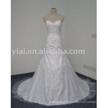 WD7601 возлю Труба простыми конструкциями белые вышивки для свадебное платье