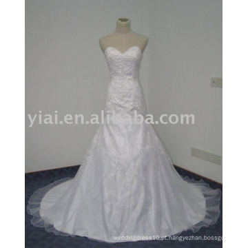 WD7601 Sweetheart Bling Trumpet Desenhos simples de bordado branco para o vestido de noiva