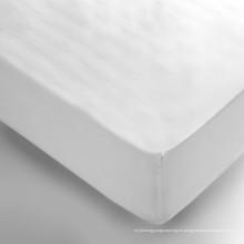 Juego de cama de hotel Deep Pocket Stretch de algodón blanco equipado hoja (WSFI-2016019)
