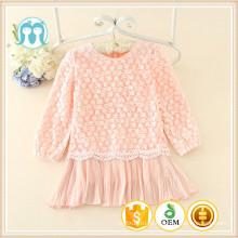 Roupas de outono casual para crianças linda manga longa rendas roupas de inverno crianças causal vestidos simples