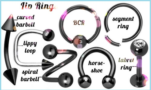 316L Stainless Steel Labret Ring Multicolor Plated Lip Ring Ball and Cone Lip Ring Piercing Jewelry