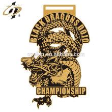 Custom gold own dragons metal zinc alloy judo championship award medal