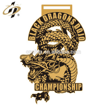 Custom gold own dragons metal zinc alloy judo championship award medal