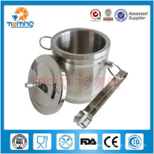 personalized round stainless steel round coolers with ice tong