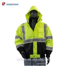 Hiver 100% de veste de Vis de polyester de ANSI, veste réfléchie verte de vêtements de travail de sécurité avec le capot de Roll-away