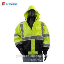 100% ANSI Polyester Hi Vis Jacket Winter,Green Safety Reflective Workwear Jacket With Roll-away Hood