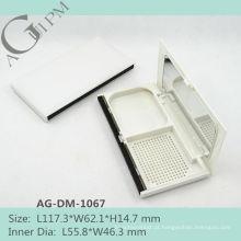 Retangular compacto pó caso/compacto pó recipiente com espelho AG-DM-1067, embalagens de cosméticos do AGPM, cores/logotipo personalizado