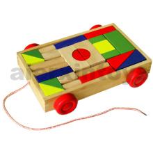 Деревянные строительные блоки на колесах (24PCS) (80026)
