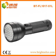 Factory Supply Emergency Usage 3*AA Logo Projection Black 51 Chinese led Aluminum led Torch Light For Outdoor and Camping