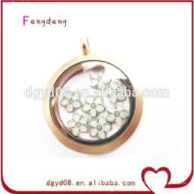 2015 moda 30mm de aço inoxidável de vidro memória flutuante medalhão pingente de jóias