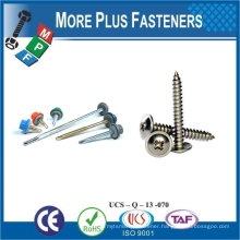 "Taiwan #10-16 x 3/4"" Hex Unslotted Hex Washer Head Epoxy #3 410 Stainless Steel Bonded Sealing Washer Self-Drilling Screw"