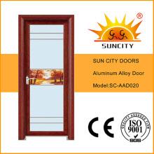 Puertas de dormitorio diseño de aluminio puerta de vidrio esmerilado