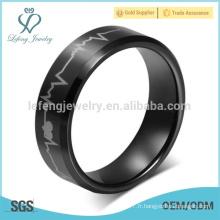 Électrocardiogramme d'anneaux de tungstène noir masculin à laser européen