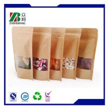 Plastik Brown flache Kraft Snack Lebensmittel Verpackung Papier Taschen mit Fenster