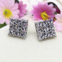 Boucles d'oreilles en forme de diamant en alliage d'argent et en métal