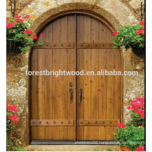 Arched Shape Double Leaf Entry Door Solid Hardwood Exterior Carved Wood Door