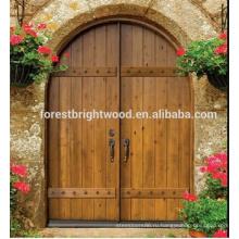 Арочные Формы Входа Двустворчатая Дверь Твердый Деревянный Экстерьер Резной Деревянной Двери