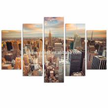 Impresión de la lona de New York City de 5 paneles / arte de la pared del edificio de los estados del imperio para la decoración / ilustraciones contemporáneas de la lona del paisaje urbano