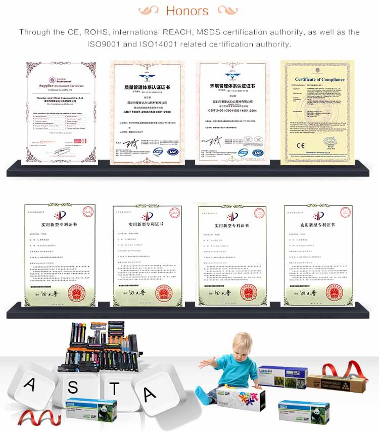 ASTA Toner Cartridge Certificate