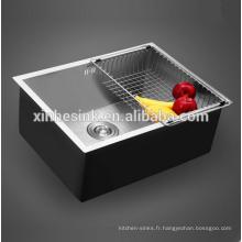 Évier de cuisine à une cuve SUS 304 en acier inoxydable à rayon zéro à la main16G / 18G