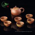 Handmade Crude Ceramic Brown Color Tea Set With Tea Pot Tea Cups Pack in Gift Box