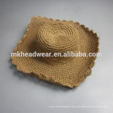 2015 sombrero de paja promocional de ala ancha