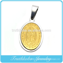 Truthkobo Two Tone Virgen De Guadalupe Gold And Silver Stainless Steel Prayer Necklace Pendant Jewelry Medals