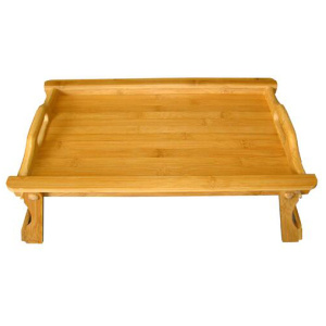 Bamboo Bed Table Breakfast Serving Tray with Legs
