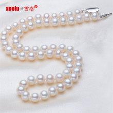 7-8mm perfeita rodada AAA água doce colar de pérolas jóias (e130016)