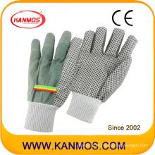 Blanco punto de PVC puntos de trabajo de seguridad industrial guantes de algodón (41007)