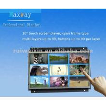 Exposição da propaganda de tela do toque do quadro aberto de 10 polegadas