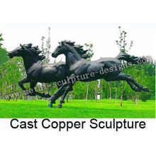 Eight Metal Running Horses Sculpture