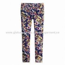 Ladies' Flower Print Super Skinny Ankle Jeans