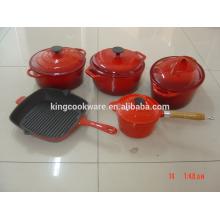 caçarola profunda revestimento de esmalte ferro fundido coookware conjunto pot panela