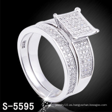 Joyería de la boda de la manera anillo plateado rodio de la CZ (S-5595. JPG)