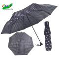 dreifacher Punktmusterdruck Stoff Pongee günstiger Preis blauer Regenschirm