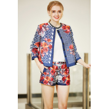 Placket and Button Front Placment Printing Round Neck Jacket