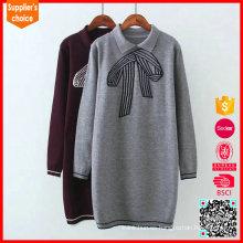 Las últimas señoras del diseño suéter largo del suéter de las señoras del jacquard del suéter largo