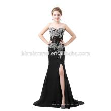 sexy vestido de noche negro ver a través del hombro del cordón largo vestido de noche largo estilo moldeado del sexo maduro vestido de noche para la novia