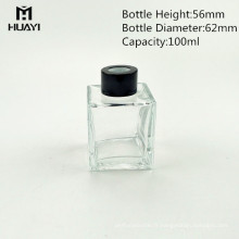 En gros vide 100 ml verre carré diffuseur bouteille de roseau avec capuchon en bois