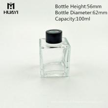 Atacado vazio 100 ml quadrado vidro difusor reed garrafa com tampa de madeira