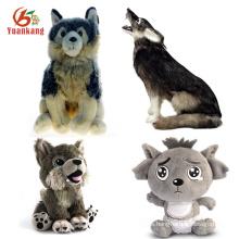 Peluches Stuffy Soft Toy Custom Baby / Grande / Gris y Negro / Azul / Rojo / Blanco / Negro Wolf Plush Toy Whit Blue Eyes
