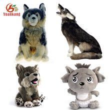 Stuffed Animals Stuffy Soft Toy Custom Baby/Large/Grey And Black/Blue/Red /White/Black Wolf Plush Toy Whit Blue Eyes
