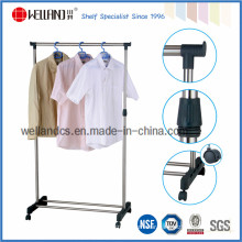Adjustable DIY Steel Single-Rod T-Shirt Display Rack for Clothing Store