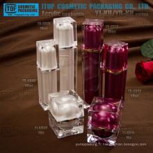 Doubles couches couleur personnalisable luxueuse haute qualité divers cosmétiques acryliques en bocal et bouteille récipient
