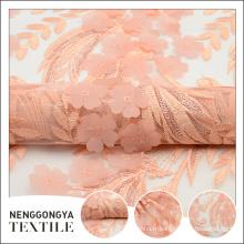 Conception de broderie florale à la mode de haute qualité de polyester de haute qualité de polyester