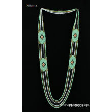 Natural seed bead handmade collar necklace