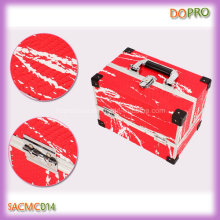 Private Label Red Snakeskin Pattern PU Leather Hard Side Cosmetic Case (SACMC014)