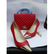 Gold Metal Toe High Heel Shoes and Matching Handbags (G-13)